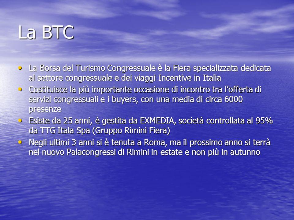 La BTCLa Borsa del Turismo Congressuale è la Fiera specializzata dedicata al settore congressuale e dei viaggi Incentive in Italia.