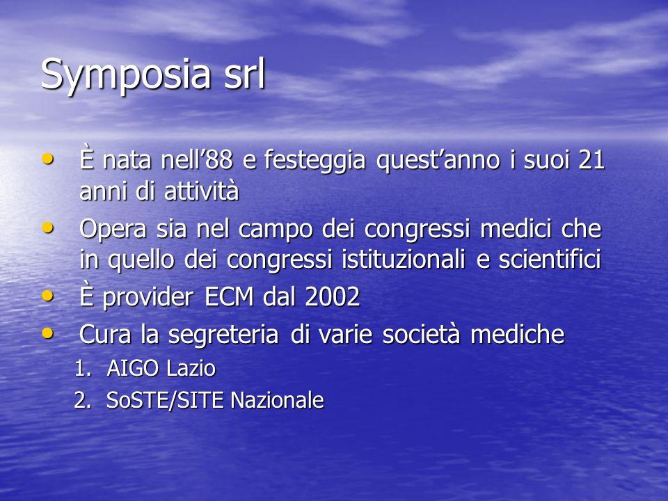 Symposia srl È nata nell'88 e festeggia quest'anno i suoi 21 anni di attività.