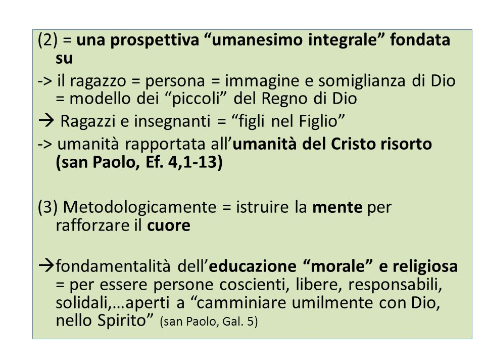 (2) = una prospettiva umanesimo integrale fondata su