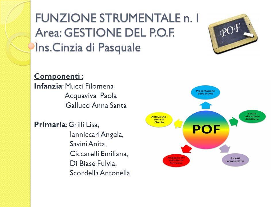 FUNZIONE STRUMENTALE n. 1 Area: GESTIONE DEL P. O. F. Ins