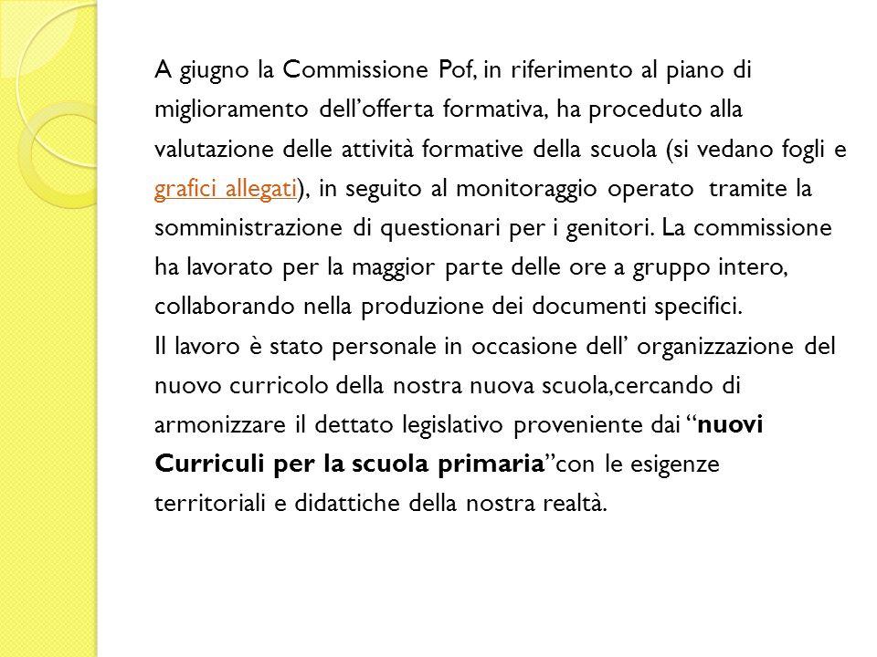 A giugno la Commissione Pof, in riferimento al piano di