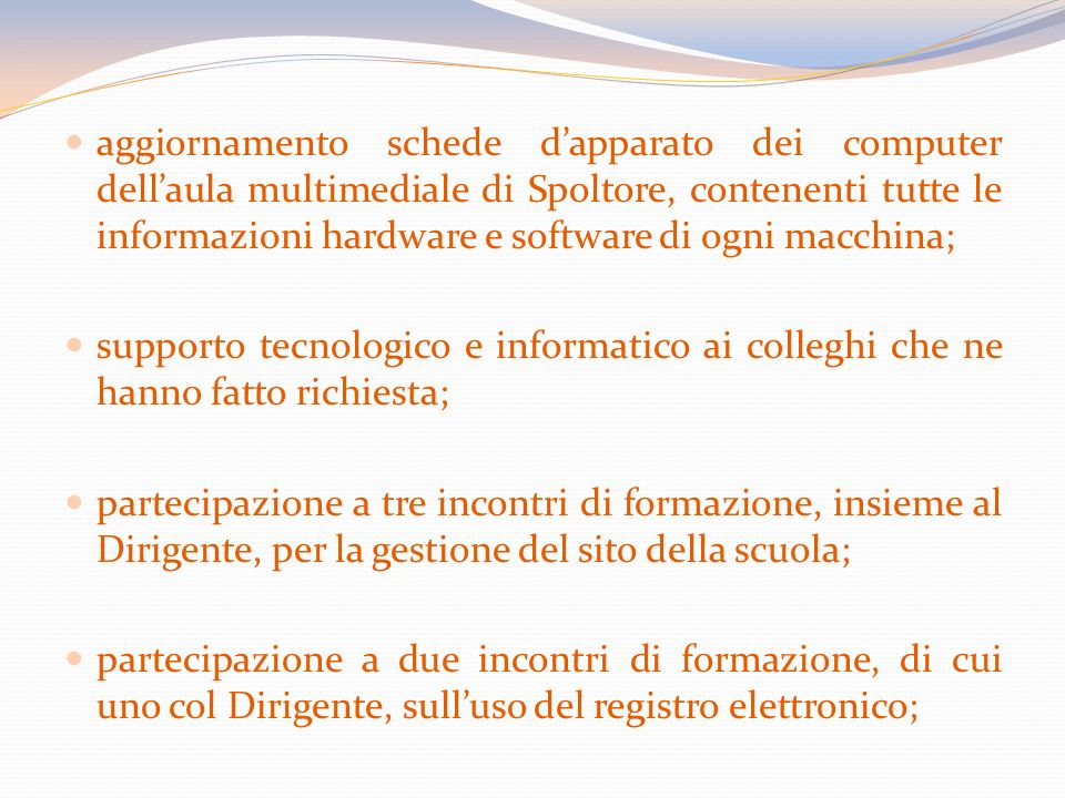 aggiornamento schede d'apparato dei computer dell'aula multimediale di Spoltore, contenenti tutte le informazioni hardware e software di ogni macchina;