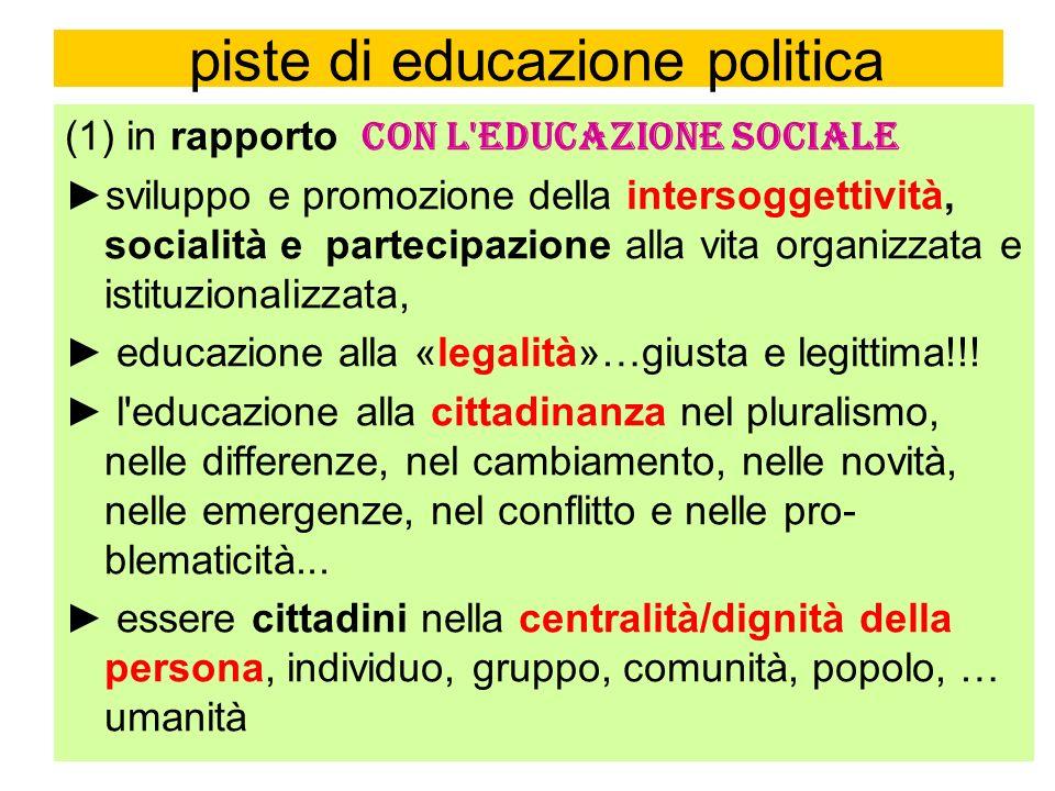 piste di educazione politica