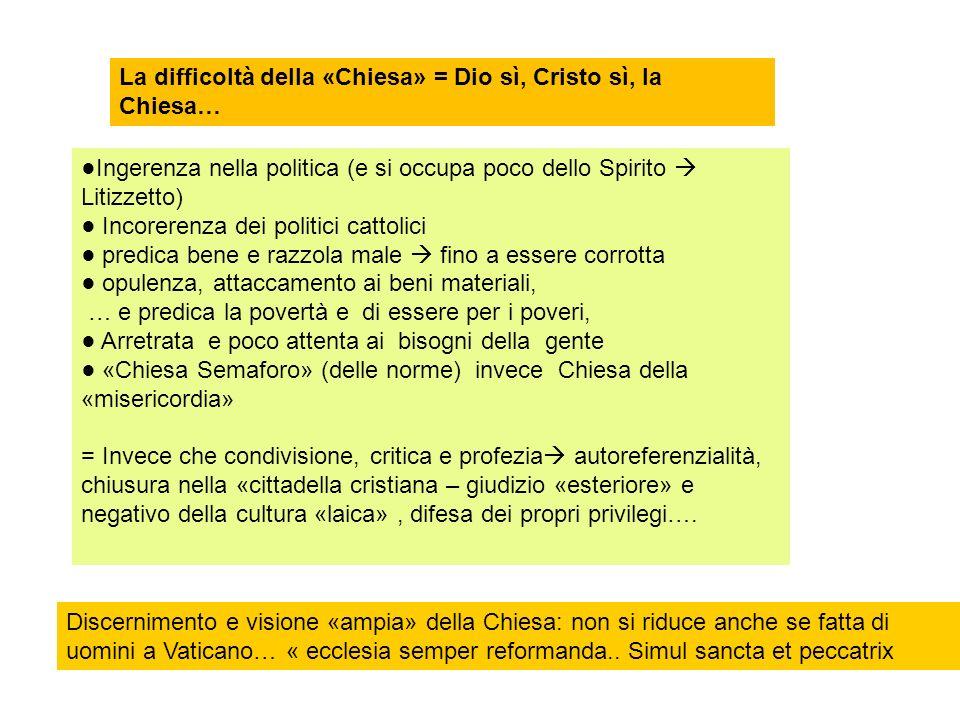 La difficoltà della «Chiesa» = Dio sì, Cristo sì, la Chiesa…