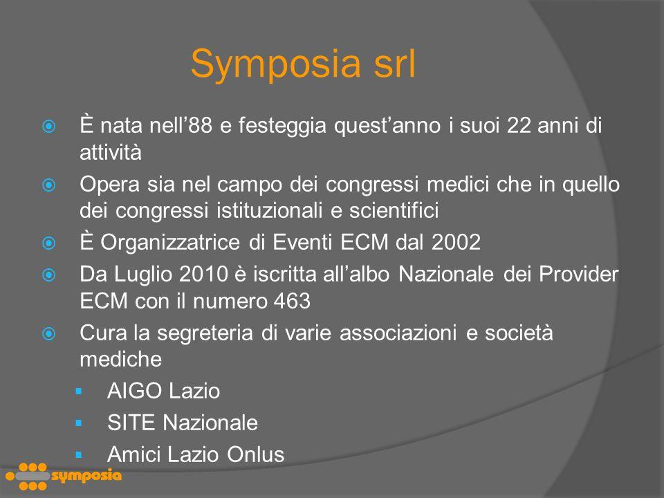 Symposia srl È nata nell'88 e festeggia quest'anno i suoi 22 anni di attività.