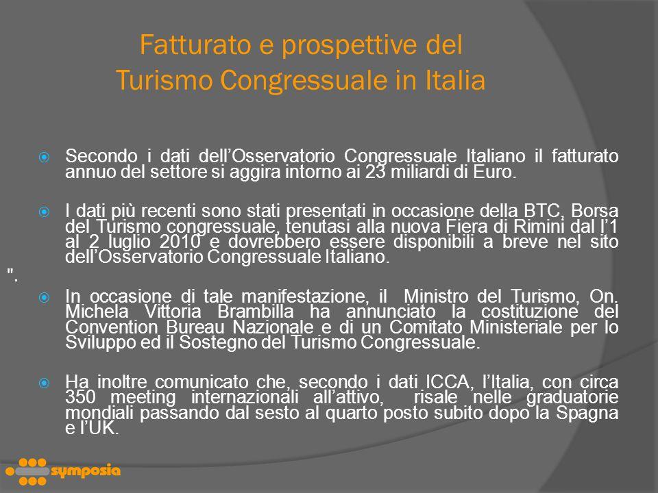 Fatturato e prospettive del Turismo Congressuale in Italia