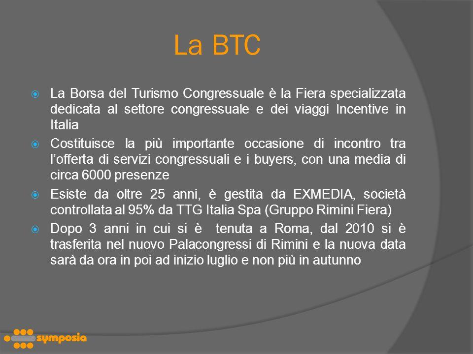 La BTC La Borsa del Turismo Congressuale è la Fiera specializzata dedicata al settore congressuale e dei viaggi Incentive in Italia.