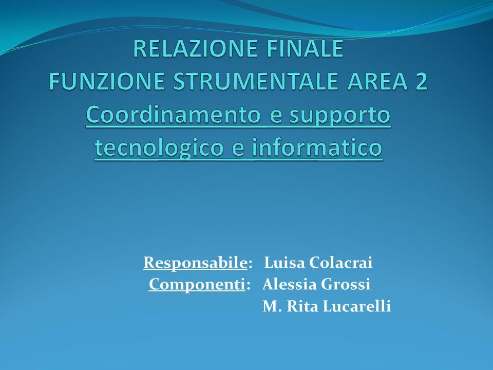 RELAZIONE FINALE FUNZIONE STRUMENTALE AREA 2 Coordinamento e supporto tecnologico e informatico