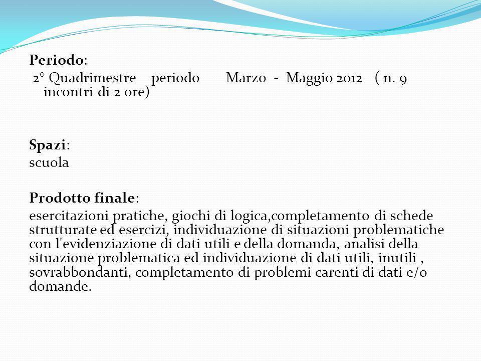 Periodo: 2° Quadrimestre periodo Marzo - Maggio 2012 ( n. 9 incontri di 2 ore) Spazi: