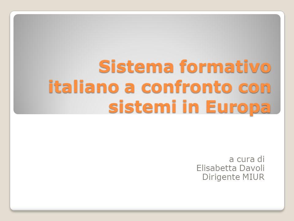 Sistema formativo italiano a confronto con sistemi in Europa