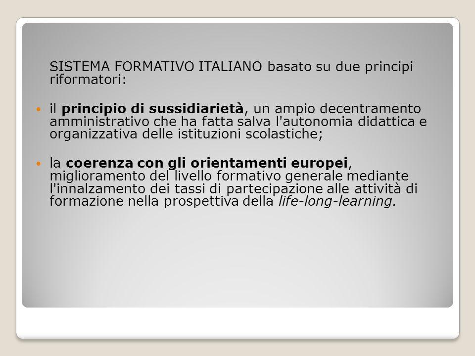 SISTEMA FORMATIVO ITALIANO basato su due principi riformatori: