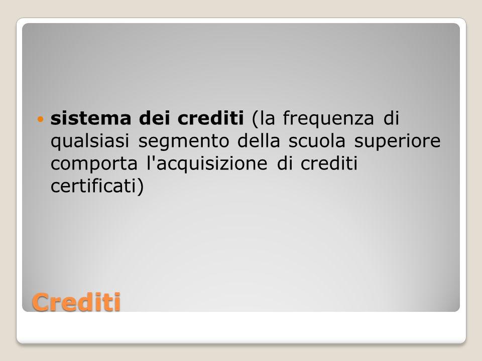 sistema dei crediti (la frequenza di qualsiasi segmento della scuola superiore comporta l acquisizione di crediti certificati)