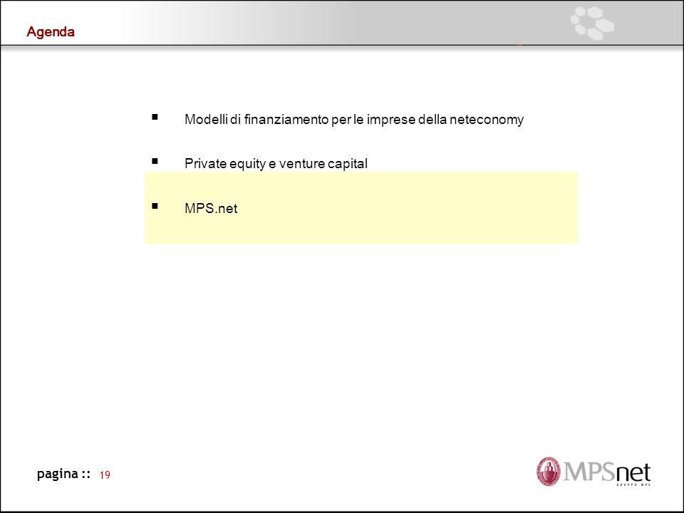 Agenda Modelli di finanziamento per le imprese della neteconomy. Private equity e venture capital.