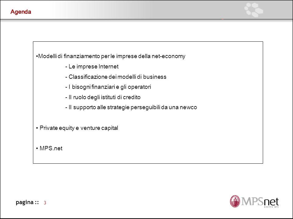 Agenda Modelli di finanziamento per le imprese della net-economy. - Le imprese Internet. - Classificazione dei modelli di business.