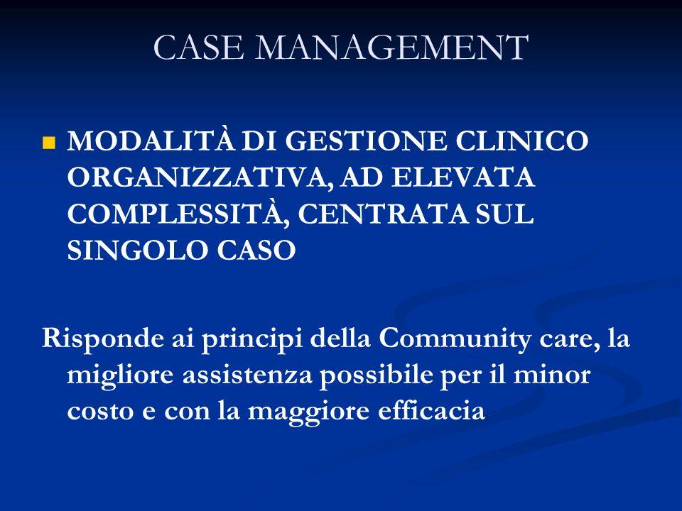 CASE MANAGEMENTMODALITÀ DI GESTIONE CLINICO ORGANIZZATIVA, AD ELEVATA COMPLESSITÀ, CENTRATA SUL SINGOLO CASO.