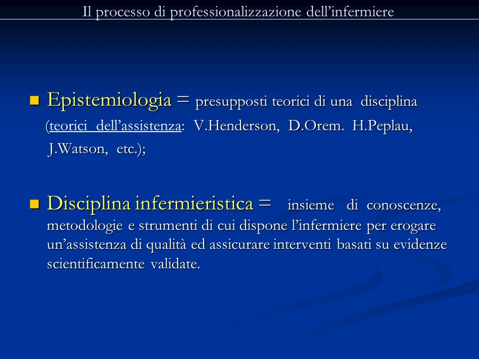 Il processo di professionalizzazione dell'infermiere