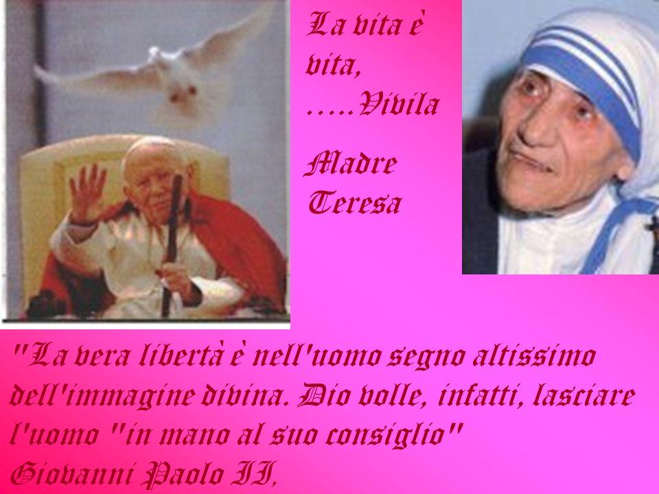 La vita è vita, …..Vivila Madre Teresa.