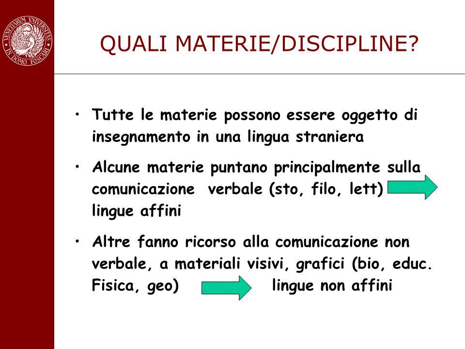 QUALI MATERIE/DISCIPLINE