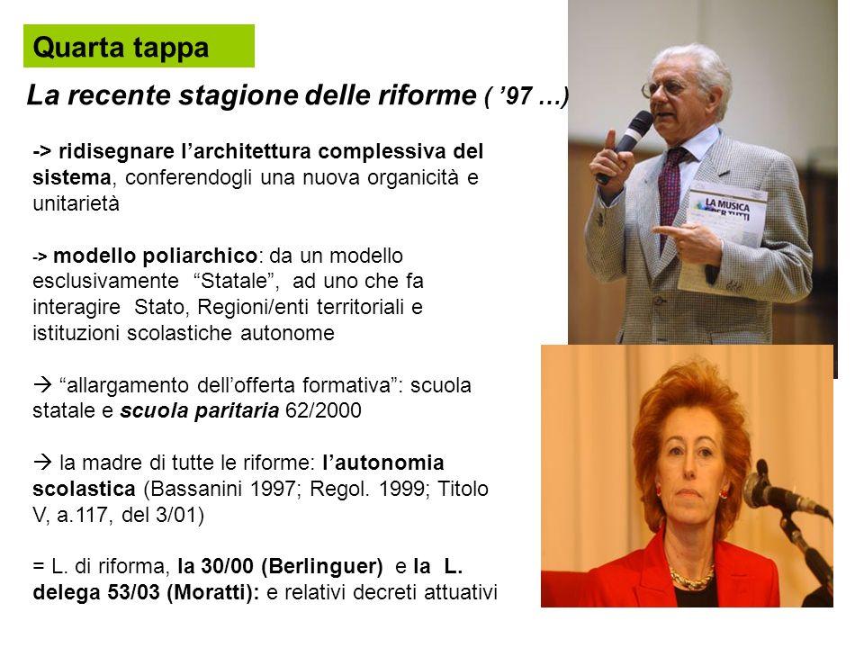 La recente stagione delle riforme ( '97 …)