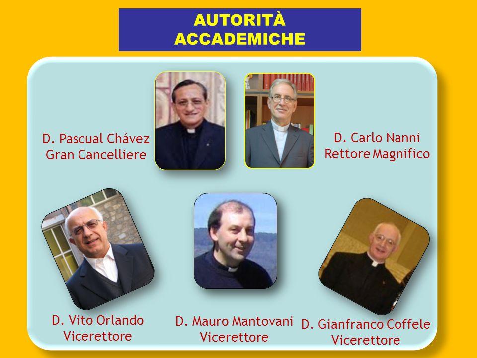 AUTORITÀ ACCADEMICHE D. Pascual Chávez D. Carlo Nanni Gran Cancelliere