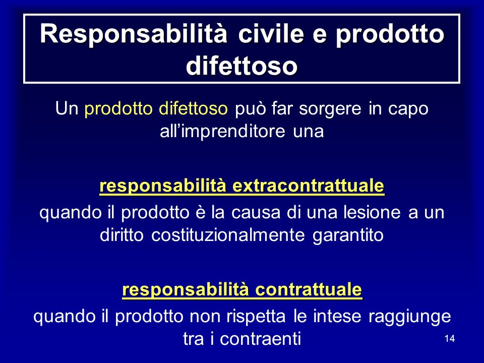 Responsabilità civile e prodotto difettoso