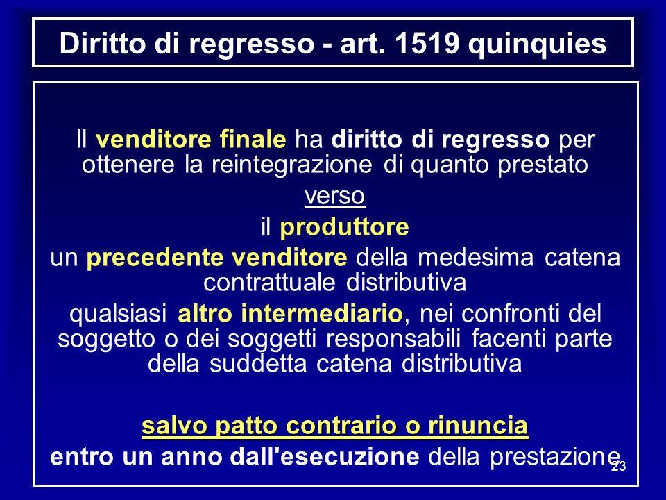 Diritto di regresso - art. 1519 quinquies