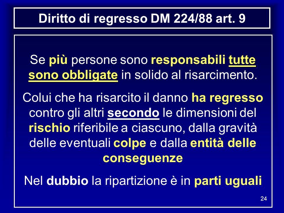 Diritto di regresso DM 224/88 art. 9