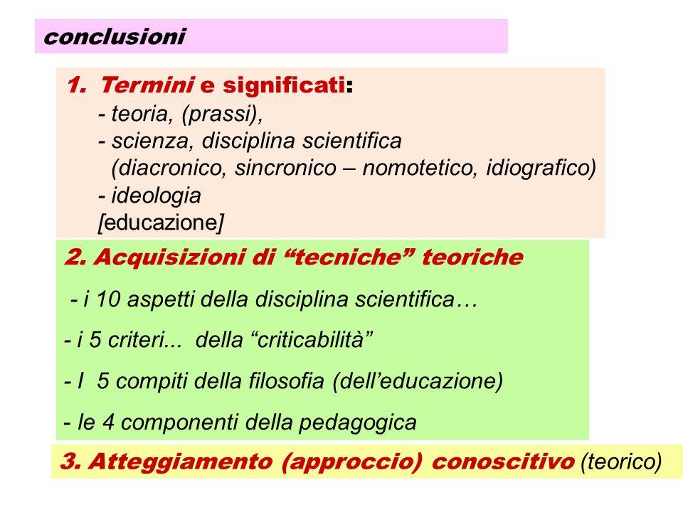 conclusioni Termini e significati: - teoria, (prassi), - scienza, disciplina scientifica. (diacronico, sincronico – nomotetico, idiografico)