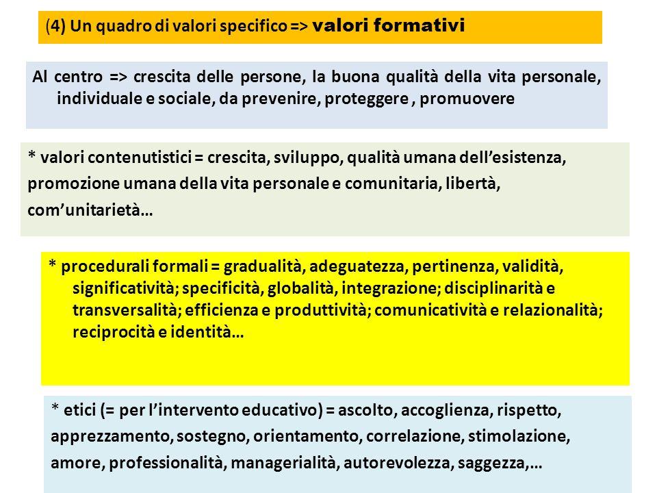 (4) Un quadro di valori specifico => valori formativi
