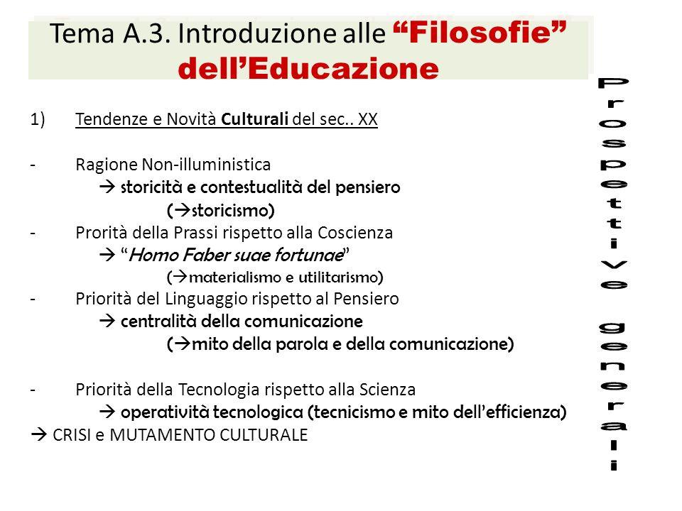 Tema A.3. Introduzione alle Filosofie dell'Educazione