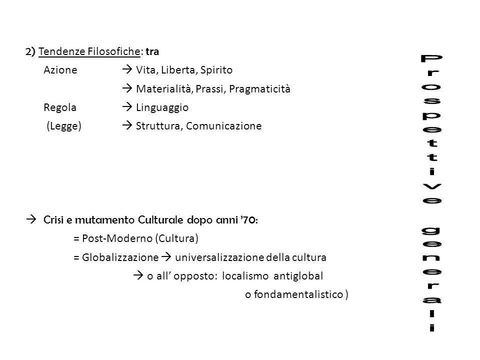 Prospettive generali 2) Tendenze Filosofiche: tra