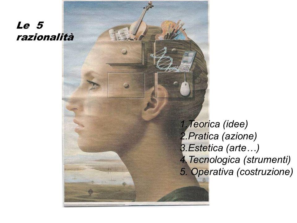 Le 5 razionalità 1.Teorica (idee) 2.Pratica (azione) 3.Estetica (arte…) 4.Tecnologica (strumenti)