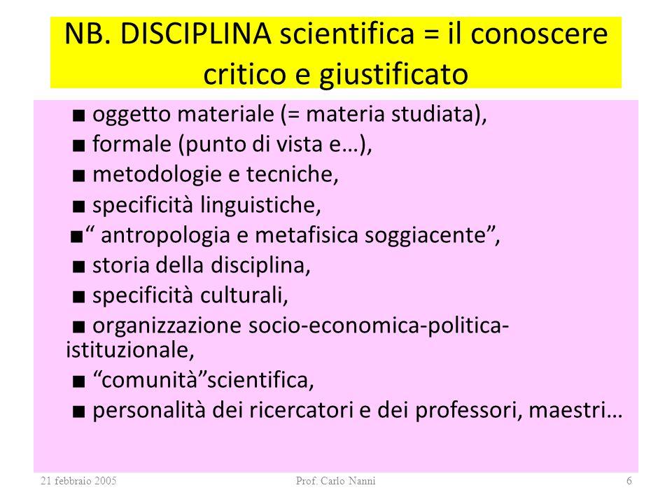 NB. DISCIPLINA scientifica = il conoscere critico e giustificato