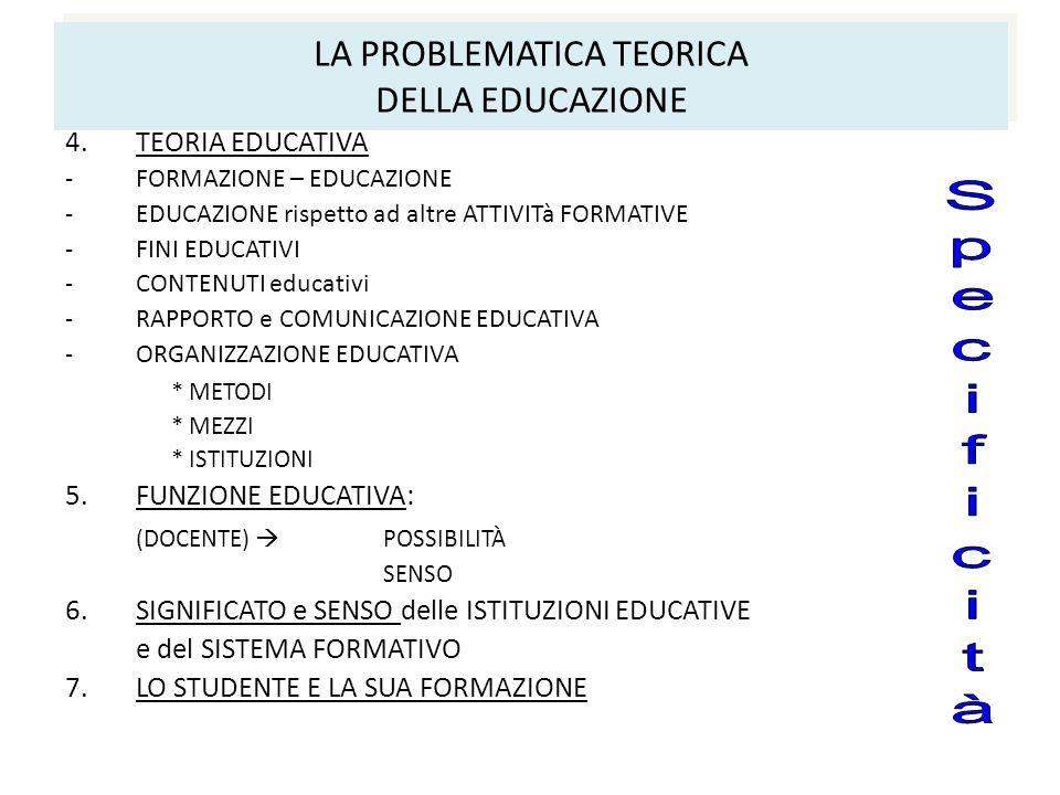 LA PROBLEMATICA TEORICA DELLA EDUCAZIONE