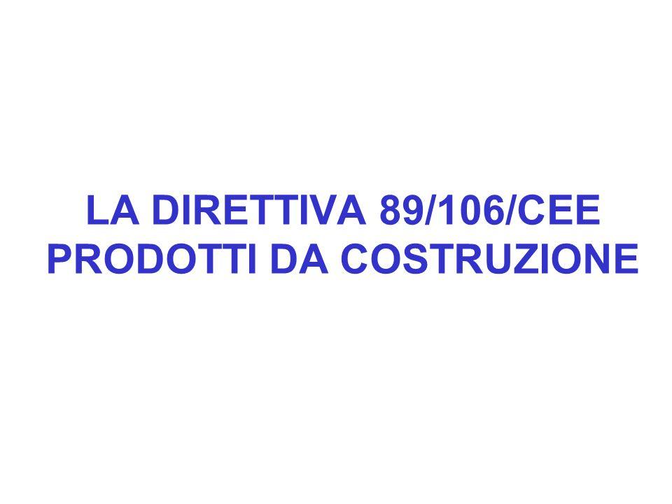 LA DIRETTIVA 89/106/CEE PRODOTTI DA COSTRUZIONE