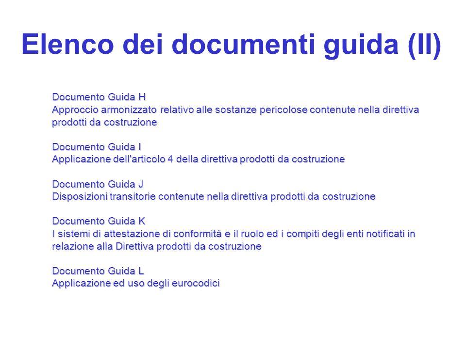 Elenco dei documenti guida (II)