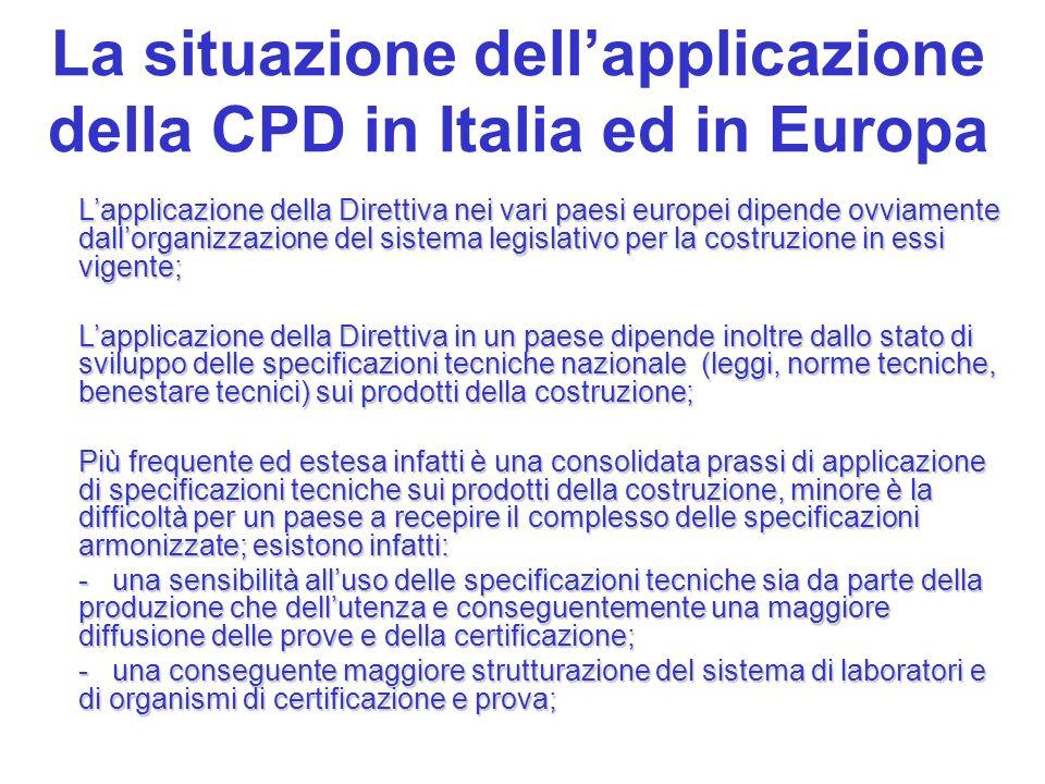 La situazione dell'applicazione della CPD in Italia ed in Europa