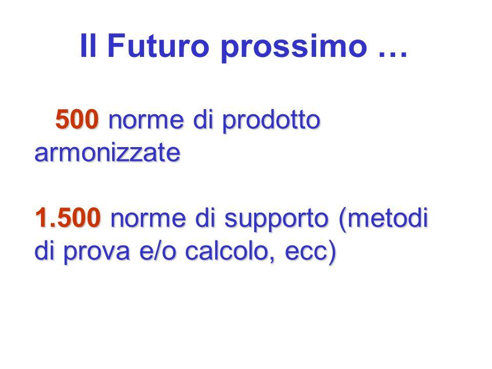 Il Futuro prossimo … 500 norme di prodotto armonizzate