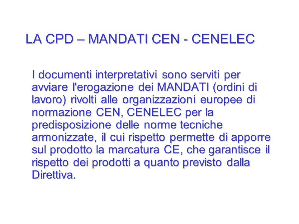LA CPD – MANDATI CEN - CENELEC