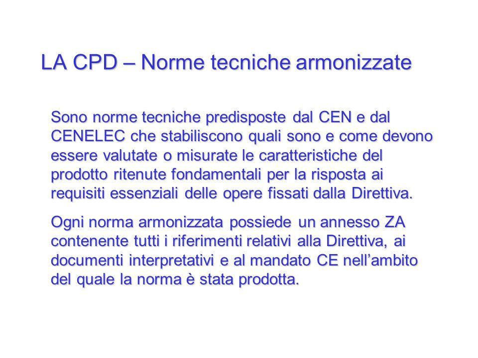 LA CPD – Norme tecniche armonizzate