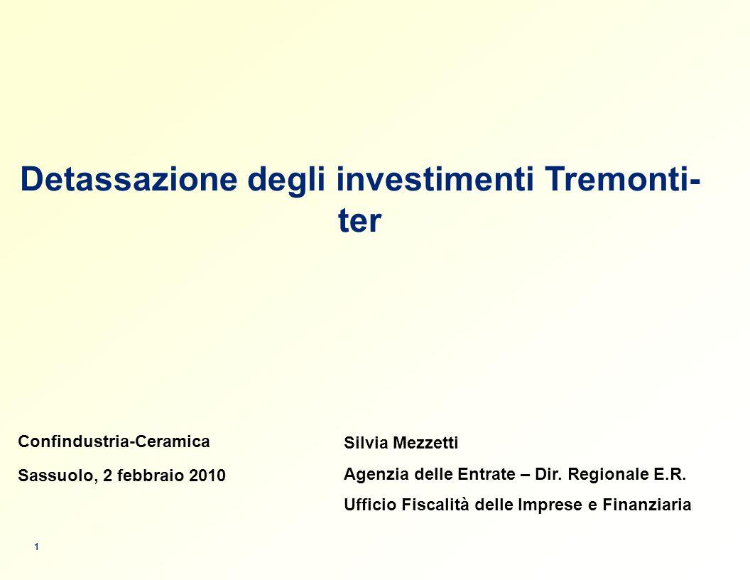 Detassazione degli investimenti Tremonti-ter