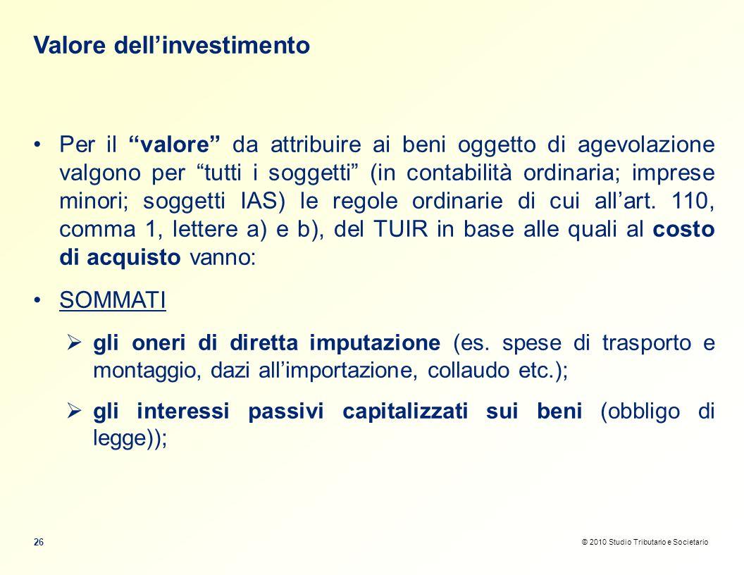 Valore dell'investimento