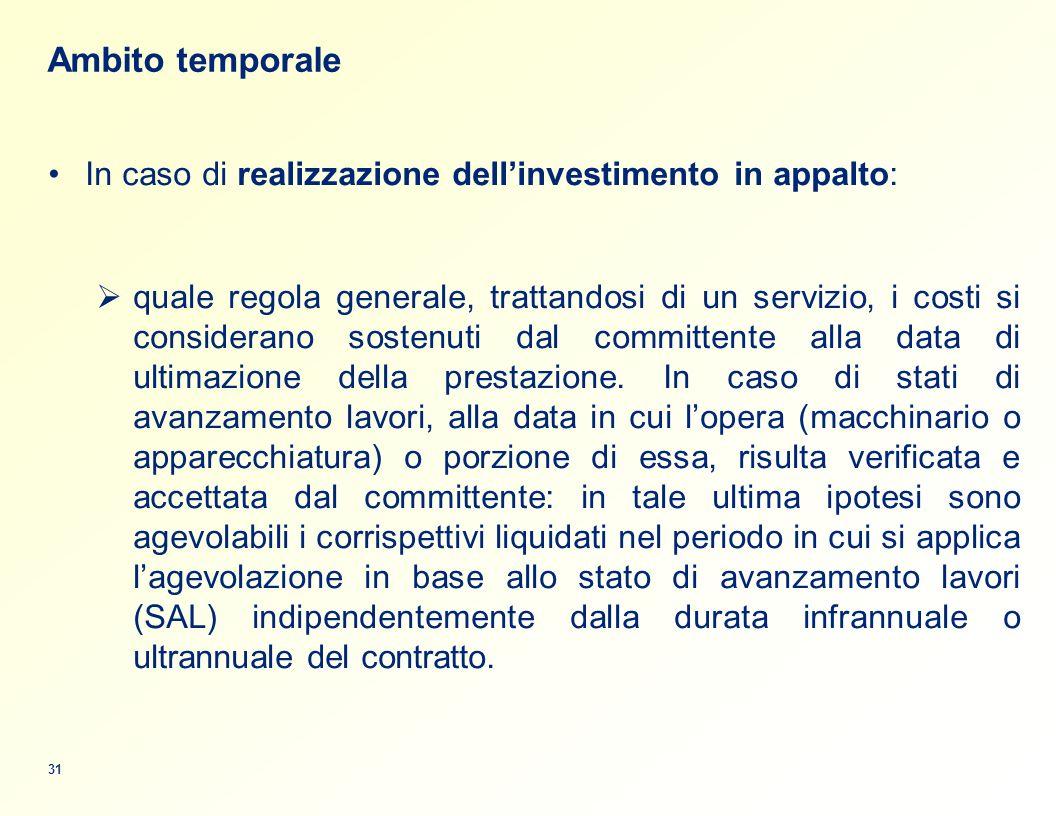 Ambito temporale In caso di realizzazione dell'investimento in appalto: