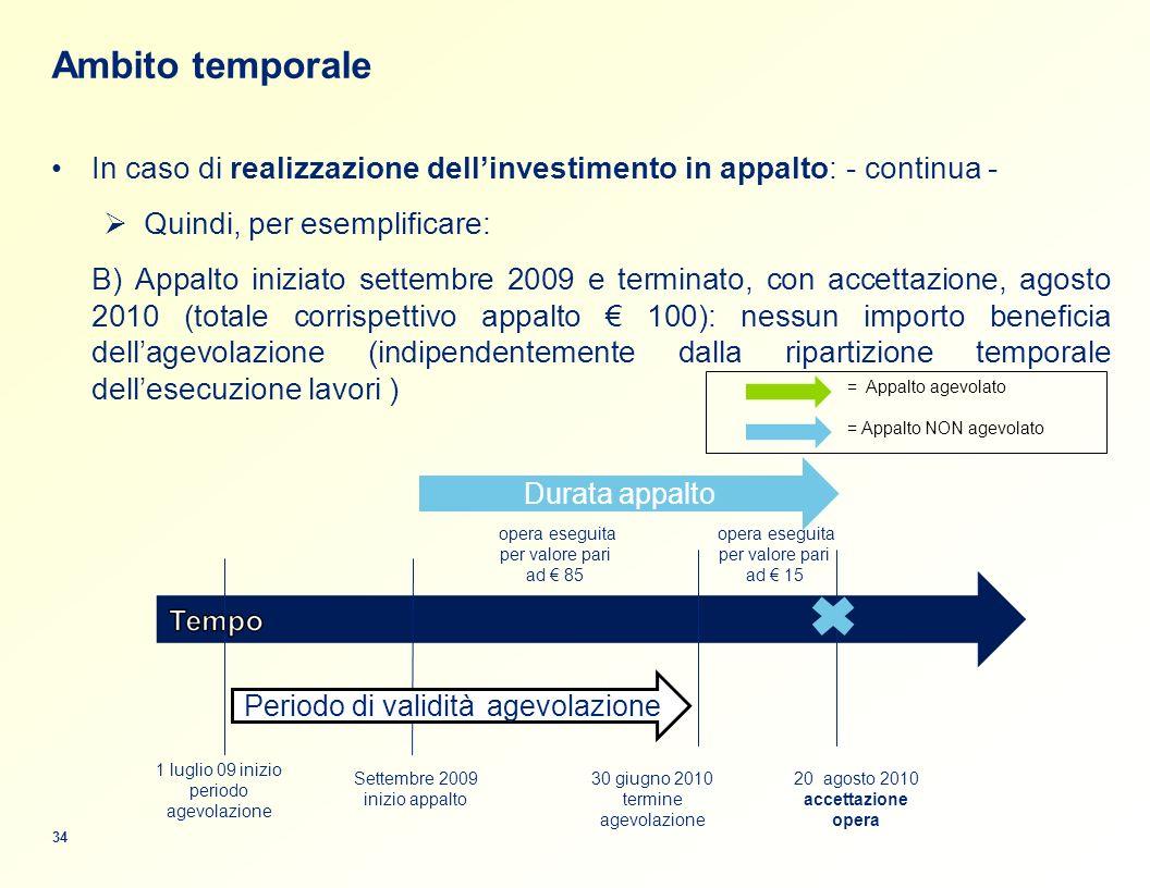 Ambito temporale In caso di realizzazione dell'investimento in appalto: - continua - Quindi, per esemplificare: