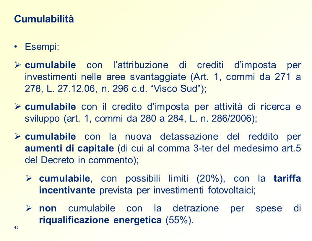 Cumulabilità Esempi: