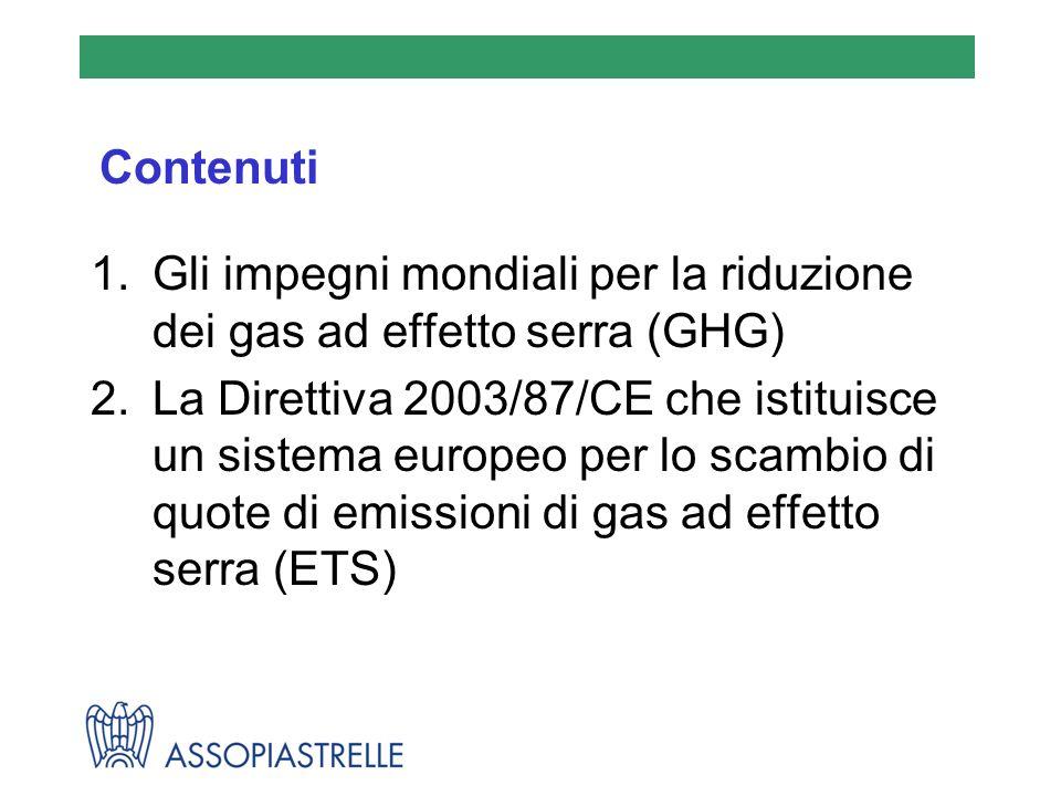 Contenuti Gli impegni mondiali per la riduzione dei gas ad effetto serra (GHG)