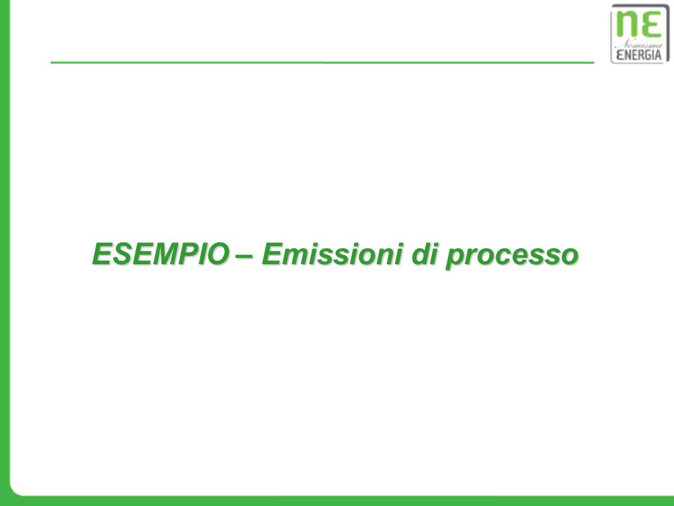 ESEMPIO – Emissioni di processo