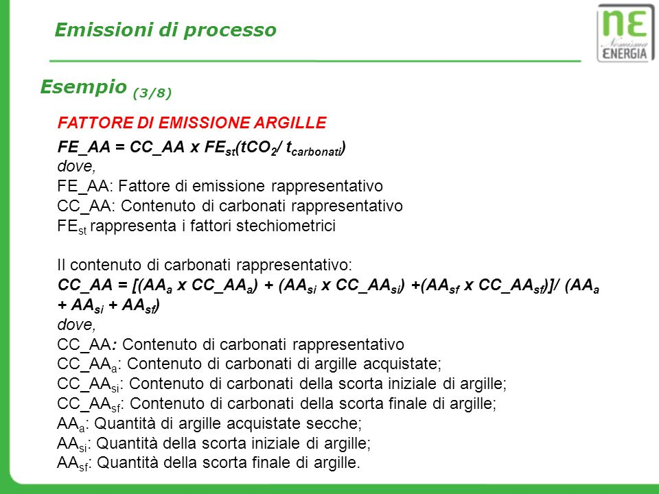 Emissioni di processo Esempio (3/8) FATTORE DI EMISSIONE ARGILLE