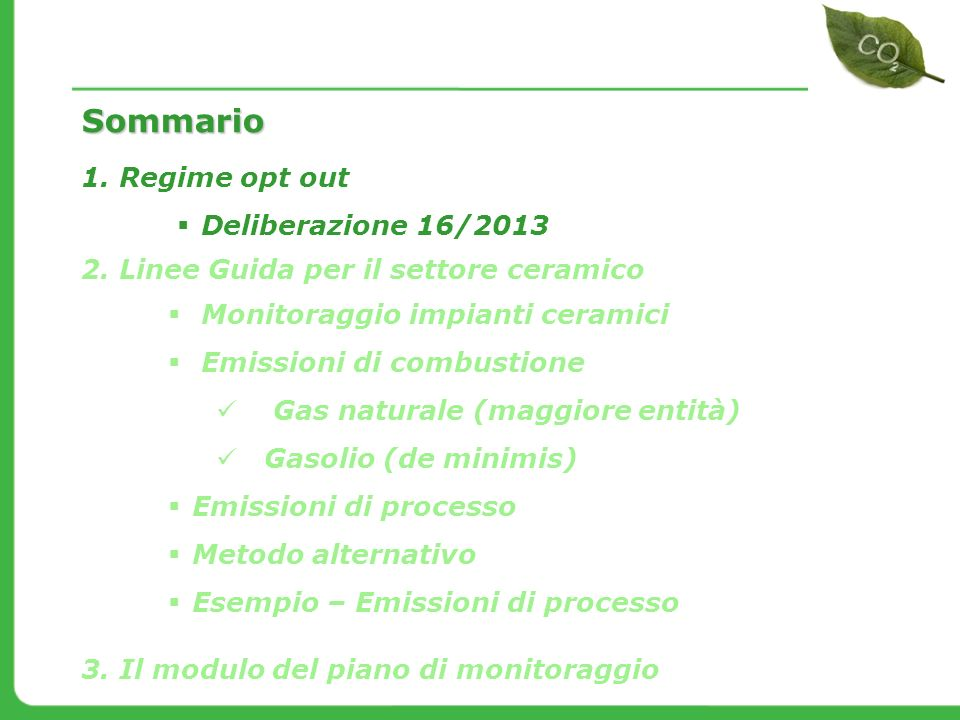 Sommario Regime opt out Deliberazione 16/2013