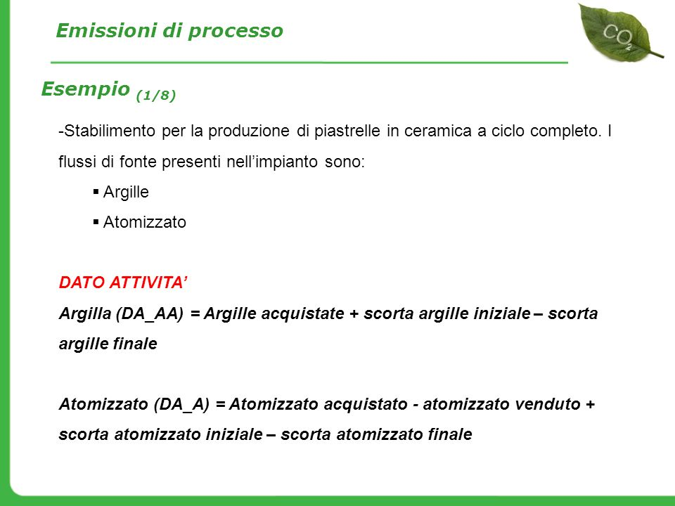 Emissioni di processo Esempio (1/8)